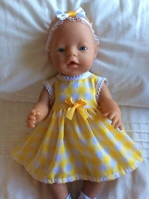 """Doll Clothes to fit 17"""" Baby Born doll ~ Dress & hband  ~ Yellow And White Check"""
