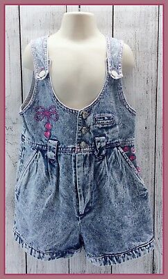 🔴 80's Vintage Girls Popsicle Brand Acid Washed Bib Overalls One-Piece Outfit 6