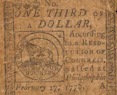 1776 $1/3 Dollar Mind Your Business Continental Currency Fugio Note Money Cc-20