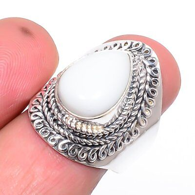 Italian White Coral Vintage Style Silver Handmade Jewelry Ring 8(37)