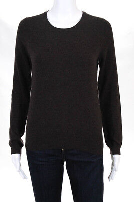 Neiman Marcus 100 Cashmere Gray Boat Neck Knit Sweater Pullover