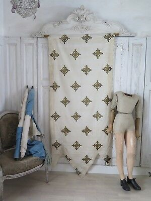 1900s French antique religious church BANNER Frankreich Fahne Prozession shabby