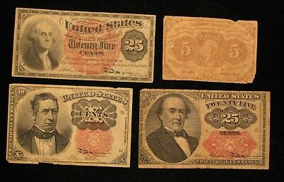 4 Piece 5 10 & 25 CENTS FRACTIONAL CURRENCY LOT * US Paper Money