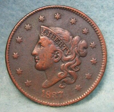 1837 CORONET HEAD LARGE CENT VF Details * US Coin
