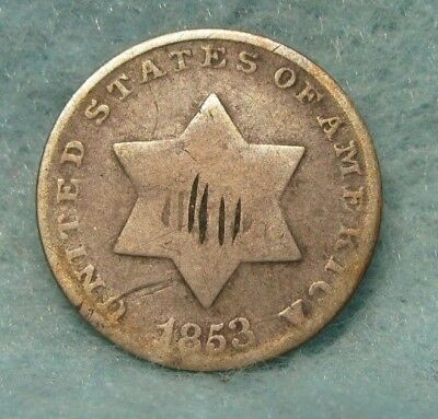 1853 THREE CENT SILVER * US Coin