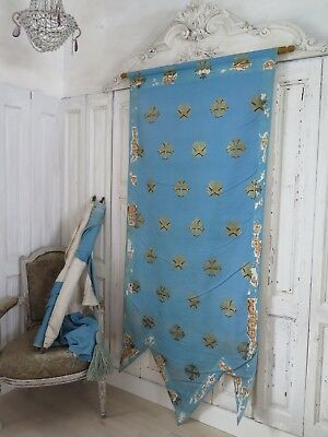 French antique religious church BANNER blue -  Fahne Prozession shabby