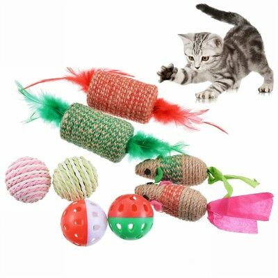 8Pcs Toy Cat Lot Bulk Mice Balls Catnip Kitty Kitten Play Toy Free Shipping US