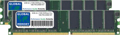 2GB (2 x 1GB) DDR 266/333/400MHz 184-PIN DIMM MEMORY RAM KIT FOR DESKTOPS/PCS
