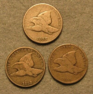 3 Piece 1857 1858 SL & 1858 LL FLYING EAGLE PENNY US Coin Lot GOOD-VG Details