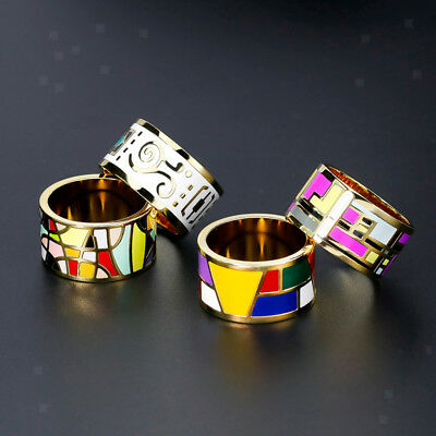 Classic Tube Ring Gold Plated Enamel Geometric Stainless Steel Scarf Ring