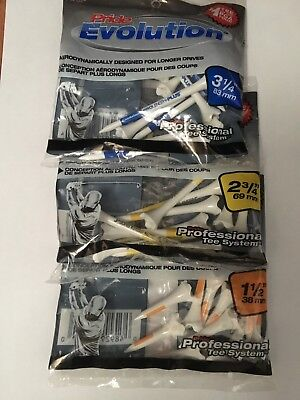 "New 30 tee mix pride professional evolution golf tees 3.25"" 2.75"" 1.5"""