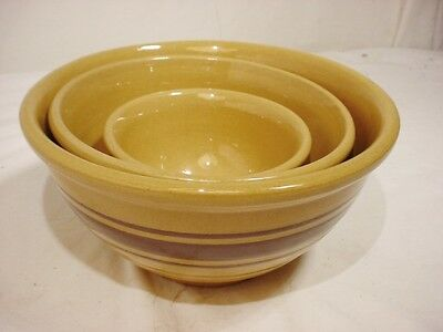 3 Vtg Weller Brown Band Stripe Yellow Ware Stoneware Nesting Mixing Bowl Signed