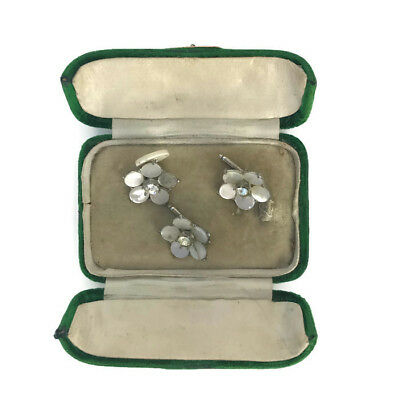 Antique Victorian Edwardian Flower Shaped Shell MOP Cufflinks & Stud Velvet Box