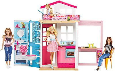 Barbie 2-Story Moden House with Furniture and Accessories Dollhouse Kid Toy Gift