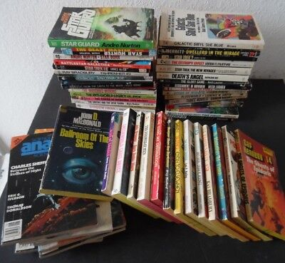 Lot of 45 Vintage Science Fiction Paperback Books + 7 Analog Magazines 1950s-80s