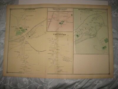 Antique 1875 West & Chelmsford Middlesex County Massachusetts Handcolored Map Nr