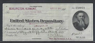 "1905 Vermont U.S. Army Paymaster Bank Check ""Stanton"""