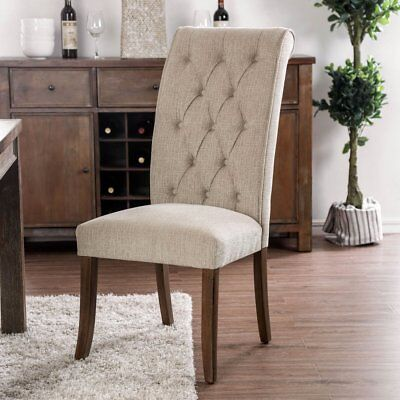 Furniture of America Harrington Scroll Back Button Tufted Dining Side Chairs -