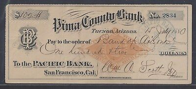 1880 Arizona Territory Bank Draft RN-G1