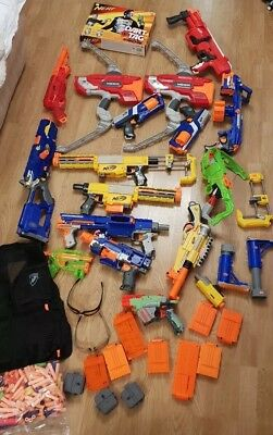 Massive Job Lot Of 16 Nerf Guns - Dart Tag Set - Clips - Stocks - Bargain!