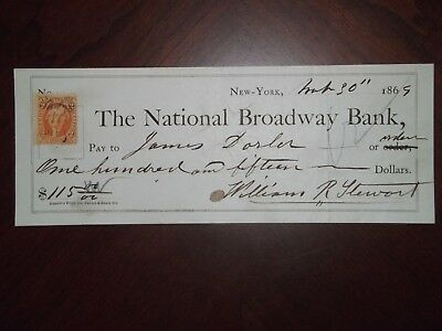 National Broadway Bank. April 19, 186-.  N.Y. William R. Stewart