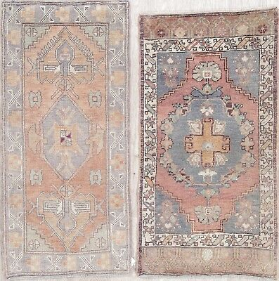 Set of 2 Geometric Muted Tribal Oushak Turkish Hand-Knotted 2'x3' Wool Rug