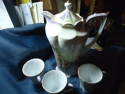 Hand Painted Nippon Chocolate/Coffee Pot with 3 Cups