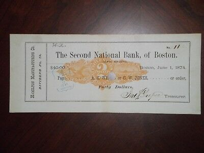 Second National Bank of Boston. June 1, 1874. Boston. RN-N3