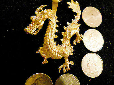 gold plated MYTH legend chinese dragon pendant charm hip hop necklace jewelry gp