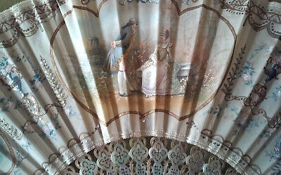 Gorgeous Antique French Silk Folding FAN Hand Painted Sequin MOP Shadow Box