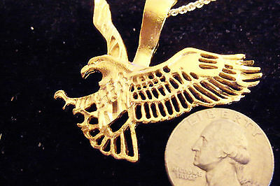 bling gold plated eagle military bird pendant charm hip hop necklace jewelry gp