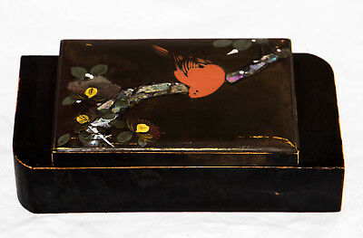 Small antique art deco black lacquered jewellery box with mother of pearl inlay