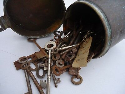Brass Victorian Container Of Rusty Keys