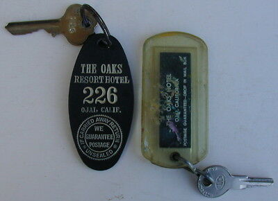 2 Old Original THE OAKS HOTEL Key Fobs with Keys Ojai California Very Rare