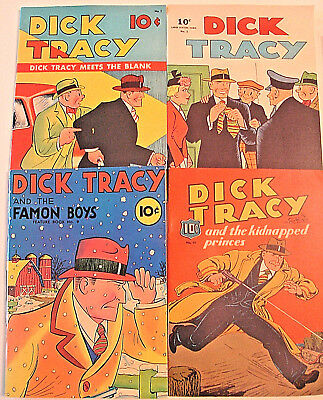 (4) 1980's DICK TRACY Large Reprint Comics #1,#3,#9,#15 - The Blank, Famon Boys+