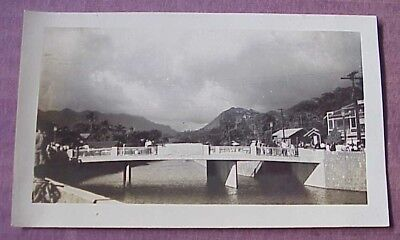 1940's Nu'uanu Stream Bridge Mauka View Honolulu TH Hawaii