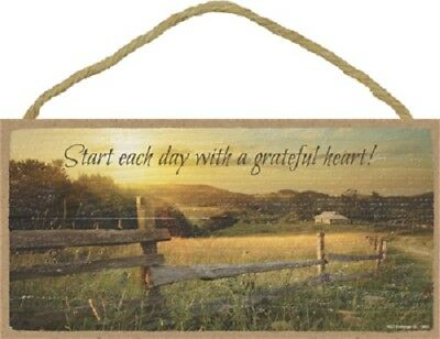 START EACH DAY WITH A GRATEFUL HEART Wood SIGN wall hangiing PLAQUE country USA