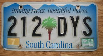 SINGLE SOUTH CAROLINA LICENSE PLATE 2008 - 212DYS Smiling Faces Beautiful Places