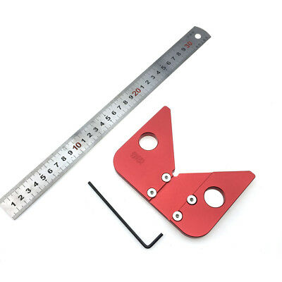 Woodworking Ruler Round Center Measuring Ruler 45 Degree Angle Gauge Tool J1H1