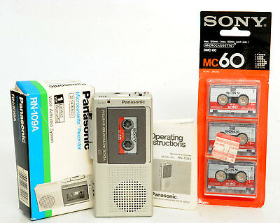 Panasonic RN-109A Microcassette Recorder & New Pack Of Sony 3MC60 Tapes,Lot 502