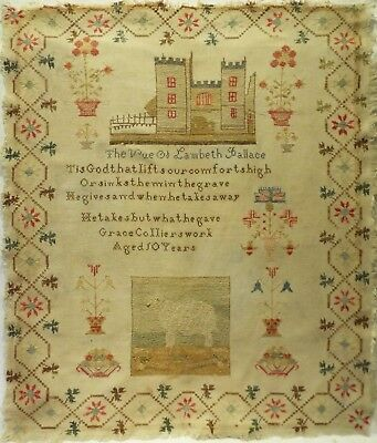 MID 19TH CENTURY PALACE, SHEEP & MOTIF SAMPLER BY GRACE COLLIER AGED 10 - c.1850