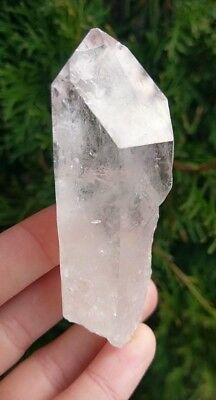 "Larger 3.3"" Natural Etched CLEAR QUARTZ Point Crystal Reiki Brazil 3.6oz T6"