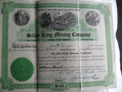 Old Stock Certificates Silver King Mining Company 10 Certificates
