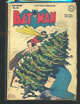 Batman # 33 - X-Mas cover Poor Cond. tape on front cover