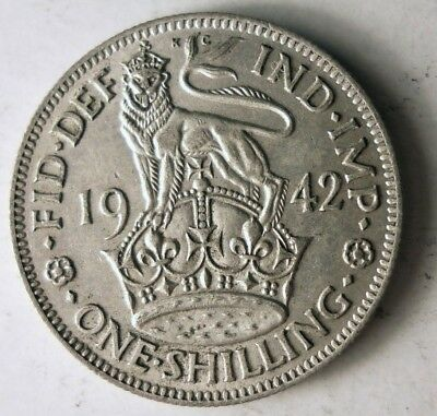 1942 GREAT BRITAIN SHILLING - Excellent Vintage Silver Coin - Lot #J12