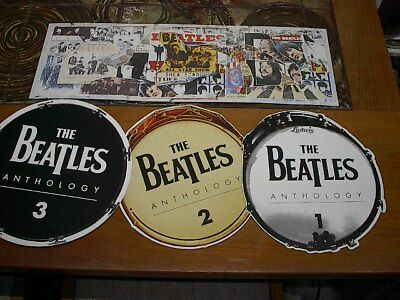 """Beatles Anthology, PROMO In-store display hanging mobile, 8"""" x 24"""" & 11"""" drums"""