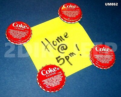 Refrigerator Soda Art Coke Coca-Cola 2 Classic Magnets Recycled Bottle Cap Um052