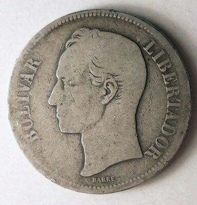 1880 VENEZUELA 5 BOLIVARES - Rare Early Date Silver Crown Coin - Lot #J12