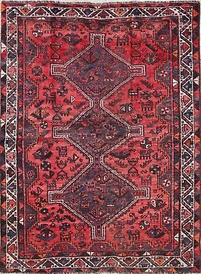 Antique Geometric Tribal Qashqai Persian Hand-Knotted 5'x6' Pink Wool Area Rug