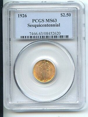 1926 Sesquicentennial $2 1/2 Gold Commemorative (MS-63) PCGS!! FLASHY COIN!!